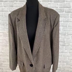 Retro houndstooth pattern black brown blazer 17/18